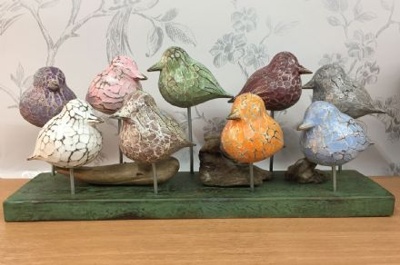 10 Colourful Abstract Rustic Wooden Hand Carved Birds on Plinth
